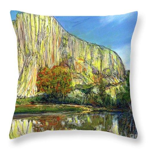 Yosemite National Park Throw Pillow featuring the painting Yosemite National Park. by Randy Sprout