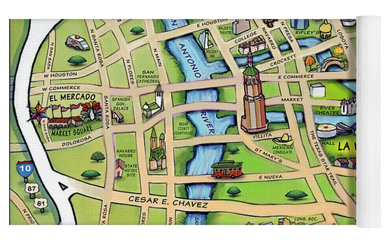 Downtown San Antonio Texas Cartoon Map Yoga Mat for Sale by Kevin ...