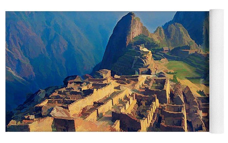 a2a27cbb6 Machu Pichu Peru In Late Afternoon Sun Text Machu Picchu Yoga Mat ...