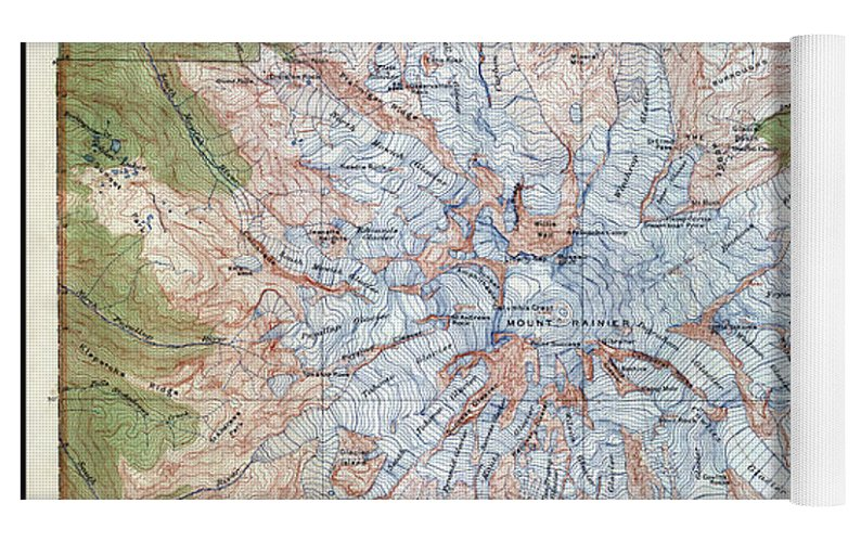 Mt Rainier Topographic Map.Mt Rainier Topographic Map 1915 Yoga Mat For Sale By Daniel Hagerman