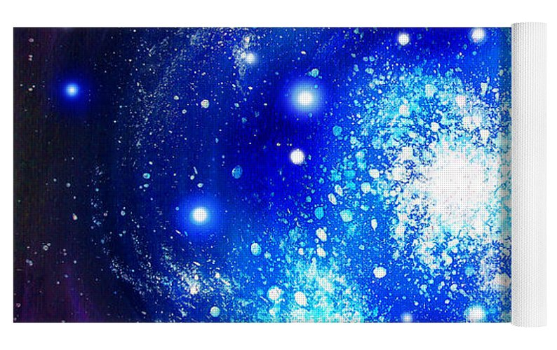 Neon Blue Galaxy Bright Stars Yoga Mat For Sale By Sofia Metal Queen
