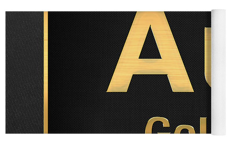 Periodic table of elements gold au gold on black yoga mat for top rolled view urtaz Choice Image