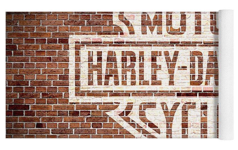 Vintage Harley Davidson Logo Painted On Old Brick Wall Yoga Mat For