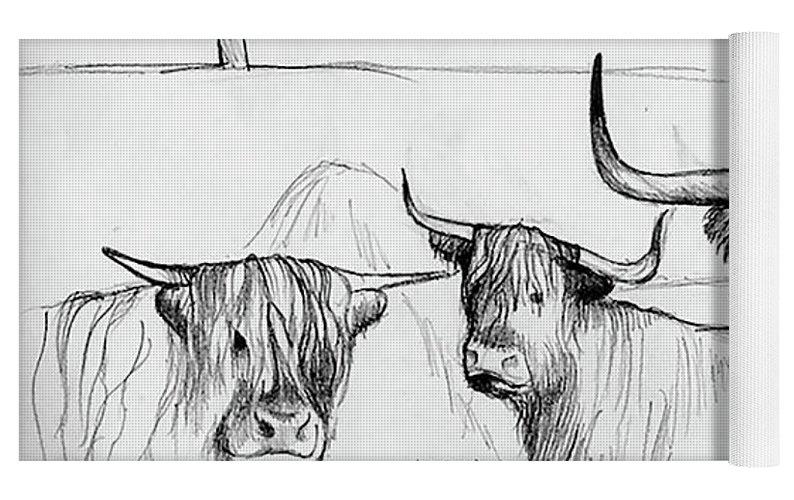 Highland Cow Sketch Yoga Mat