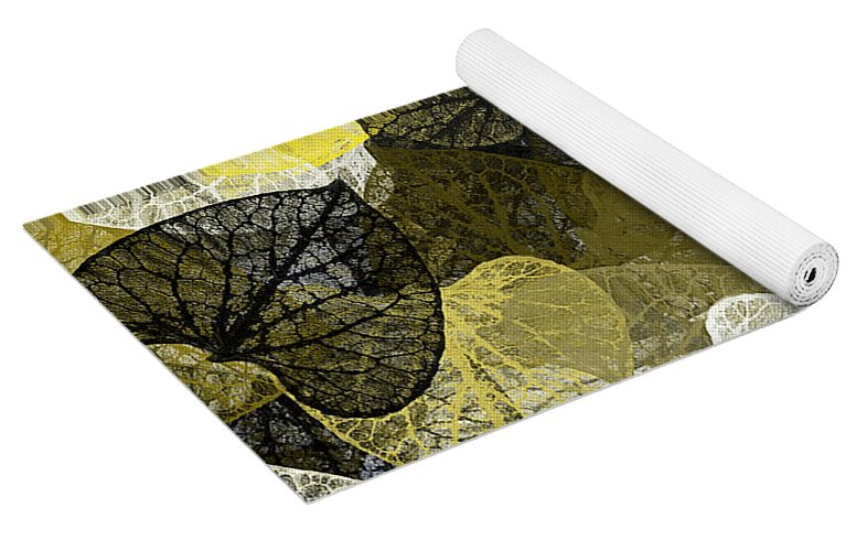 Black And Gold Leaf Pattern Yoga Mat For Sale By Christina Rollo