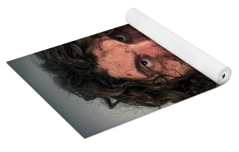 Caveman Yoga : Realistic caveman eating yoga mat for sale by ezume images