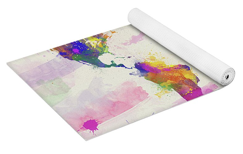 Colorful watercolor world map yoga mat for sale by zaira dzhaubaeva isometric view yoga bag gumiabroncs Gallery