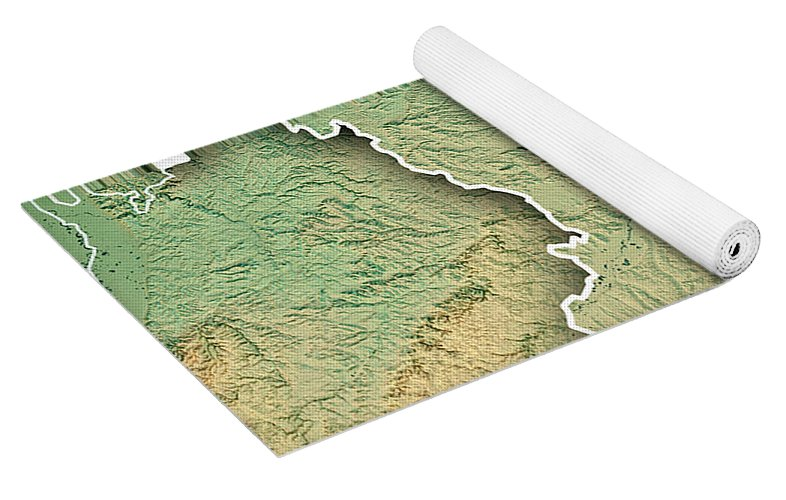 Free State Of Bavaria Germany 3d Render Topographic Map Border Yoga Mat