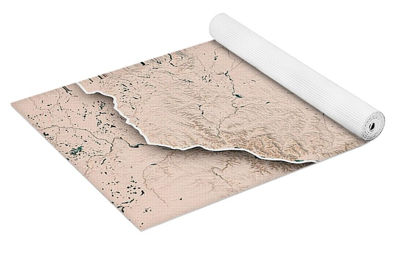 Wisconsin State Usa 3d Render Topographic Map Neutral Border Yoga