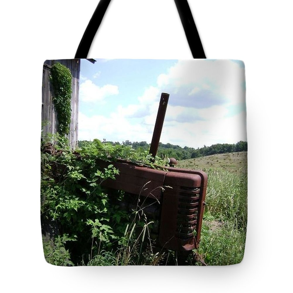 Farm Prints Tote Bag featuring the photograph       Retired by R A W M