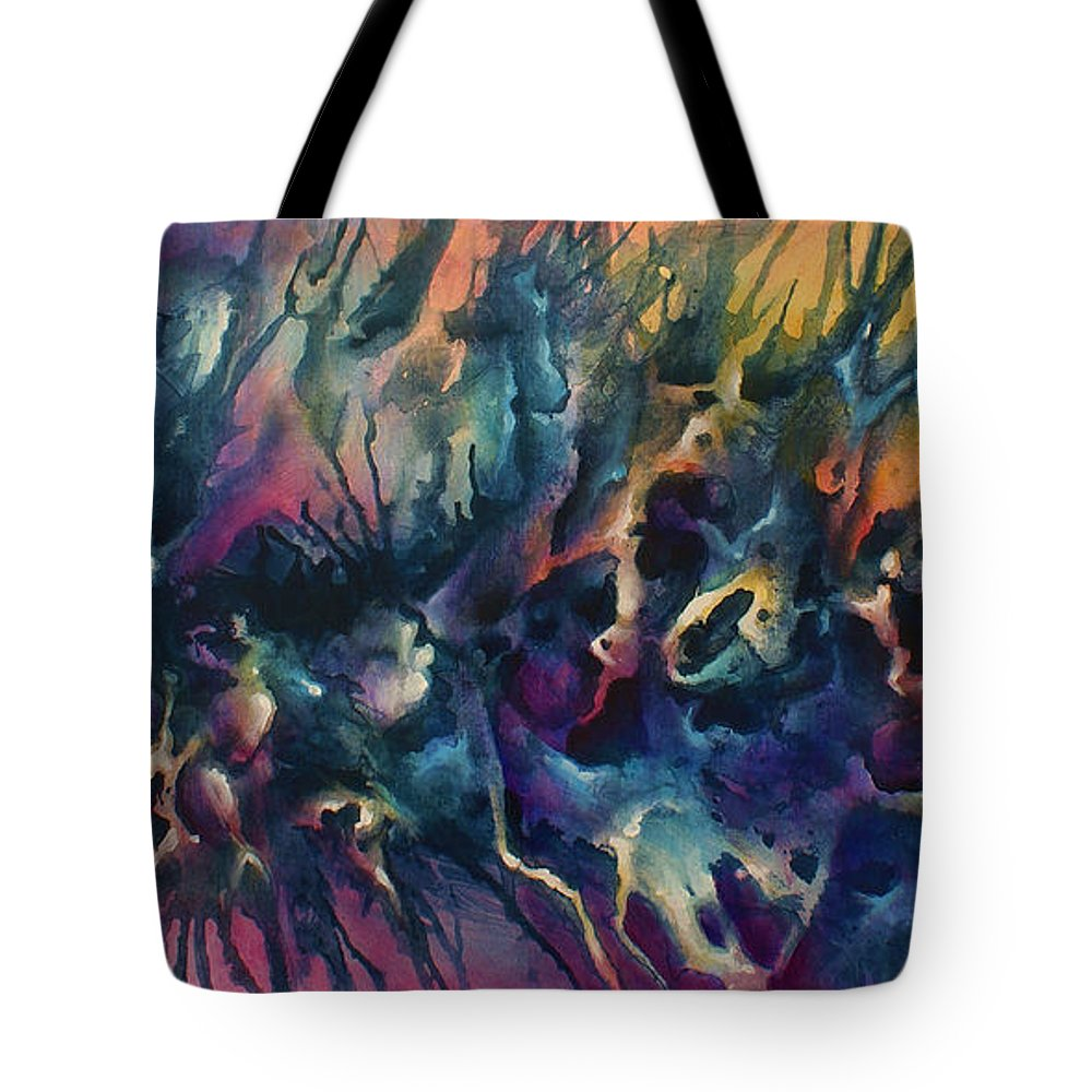 Abstract Tote Bag featuring the painting ' Impact Seven' by Michael Lang