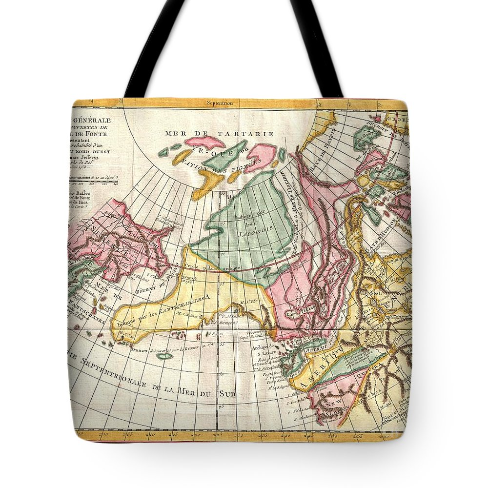 Tote Bag featuring the photograph A Truly Fascinating 1772 Map Of The Northwestern Parts Of North America By Robert De Vaugondy And T by Paul Fearn