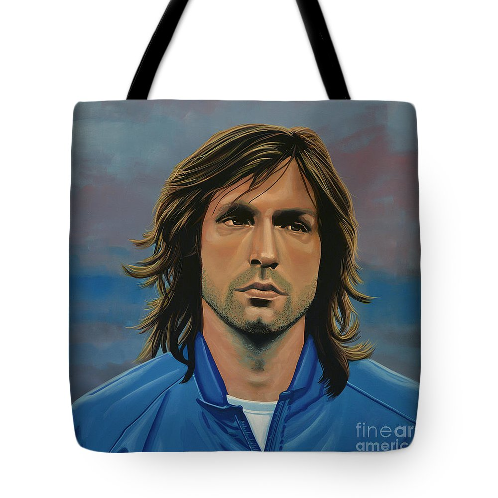 Andrea Pirlo Tote Bag featuring the painting Andrea Pirlo by Paul Meijering
