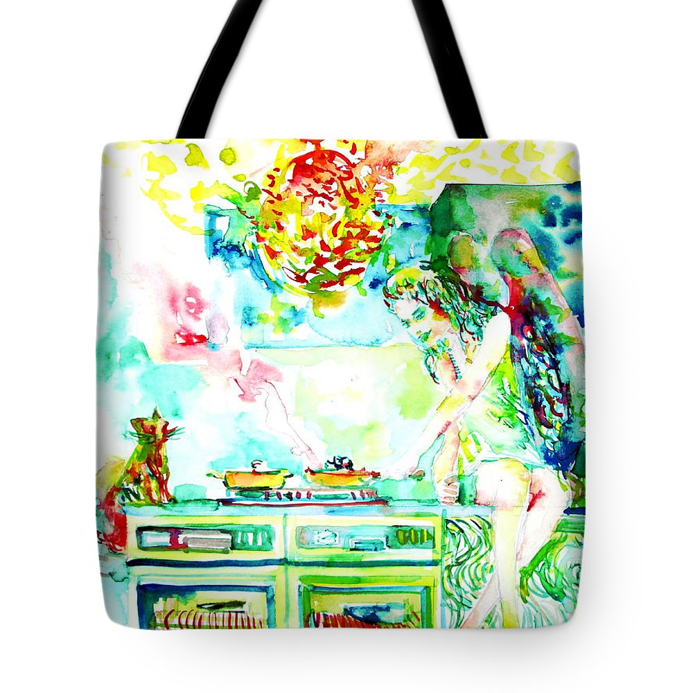 Kitchen Tote Bag featuring the painting Angel Ghost Girl Cooking Again In Her Passed Life's Kitchen With Her Friend Cat by Fabrizio Cassetta