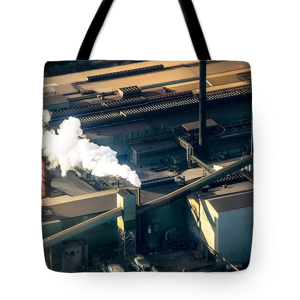 Aerial Tote Bag featuring the photograph Arcelormittal Dofasco Up Close by Urbanmoon Photography