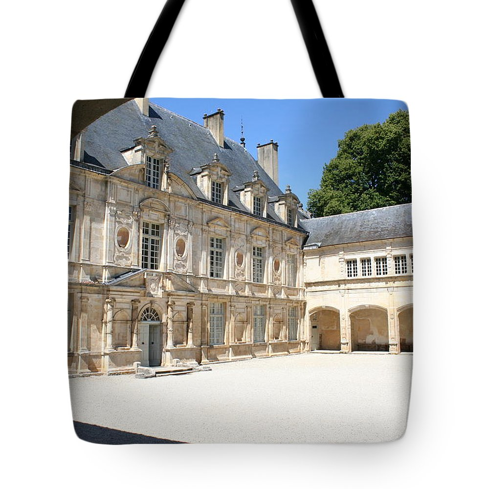 Palace Tote Bag featuring the photograph Arch View Palace Bussy Rabutin by Christiane Schulze Art And Photography