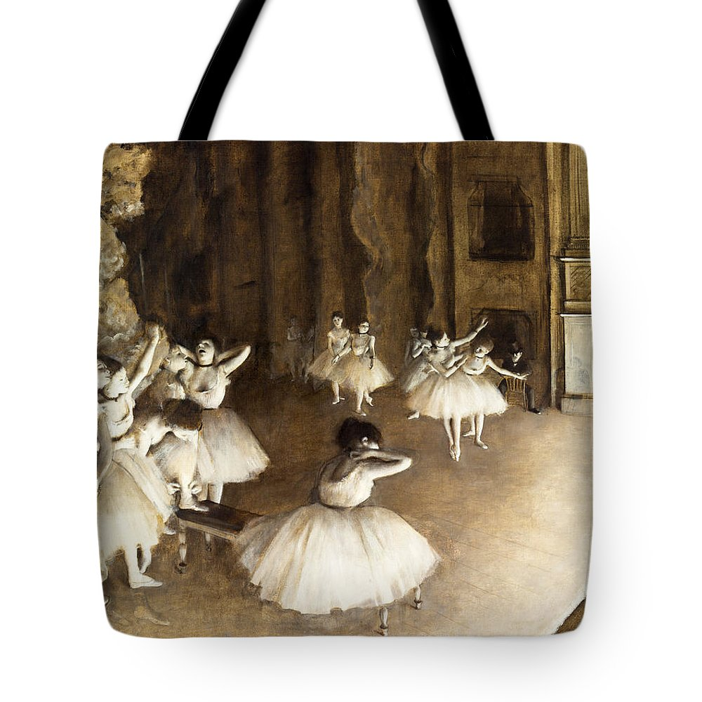 Edgar Degas Tote Bag featuring the painting Ballet Rehearsal On Stage by Edgar Degas