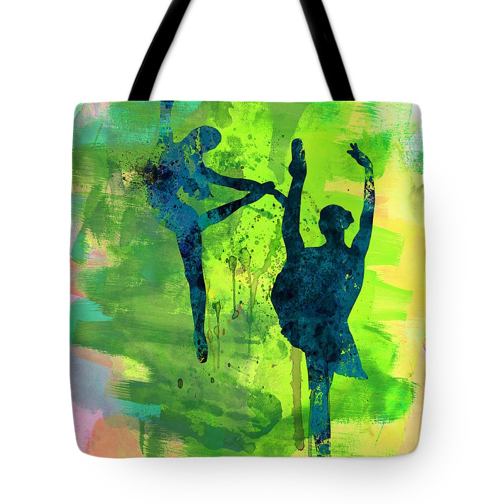 Ballet Tote Bag featuring the painting Ballet Watercolor 1 by Naxart Studio