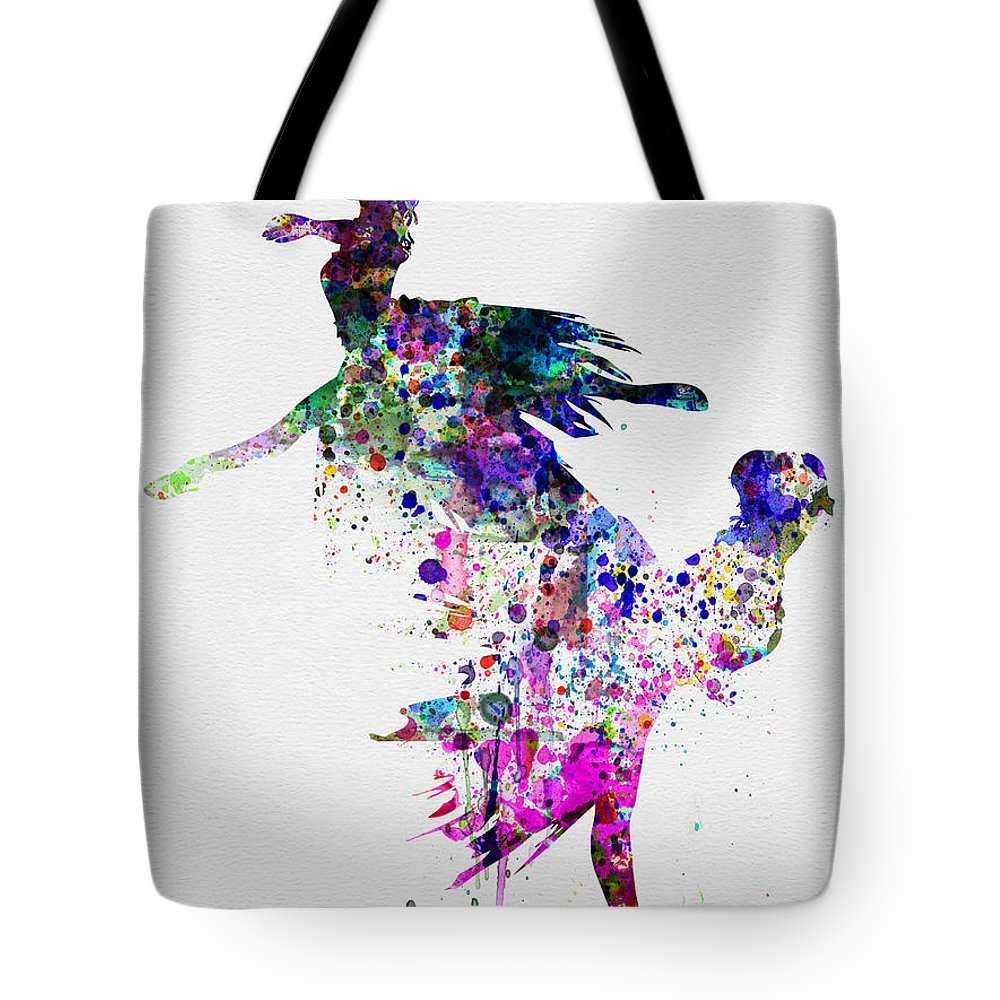 Ballet Tote Bag featuring the painting Ballet Watercolor 3 by Naxart Studio