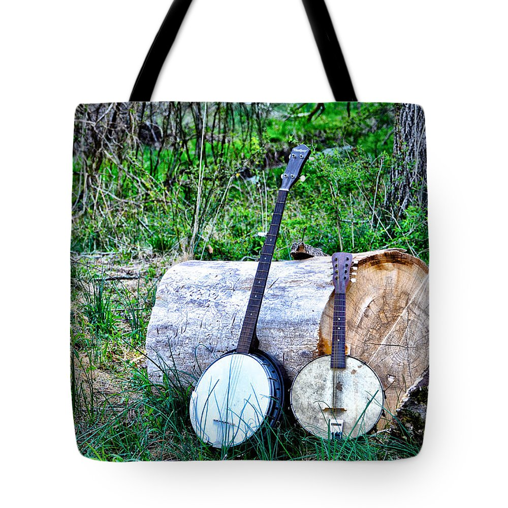 Banjos At The Woodpile Tote Bag featuring the photograph Banjos At The Woodpile by Bill Cannon