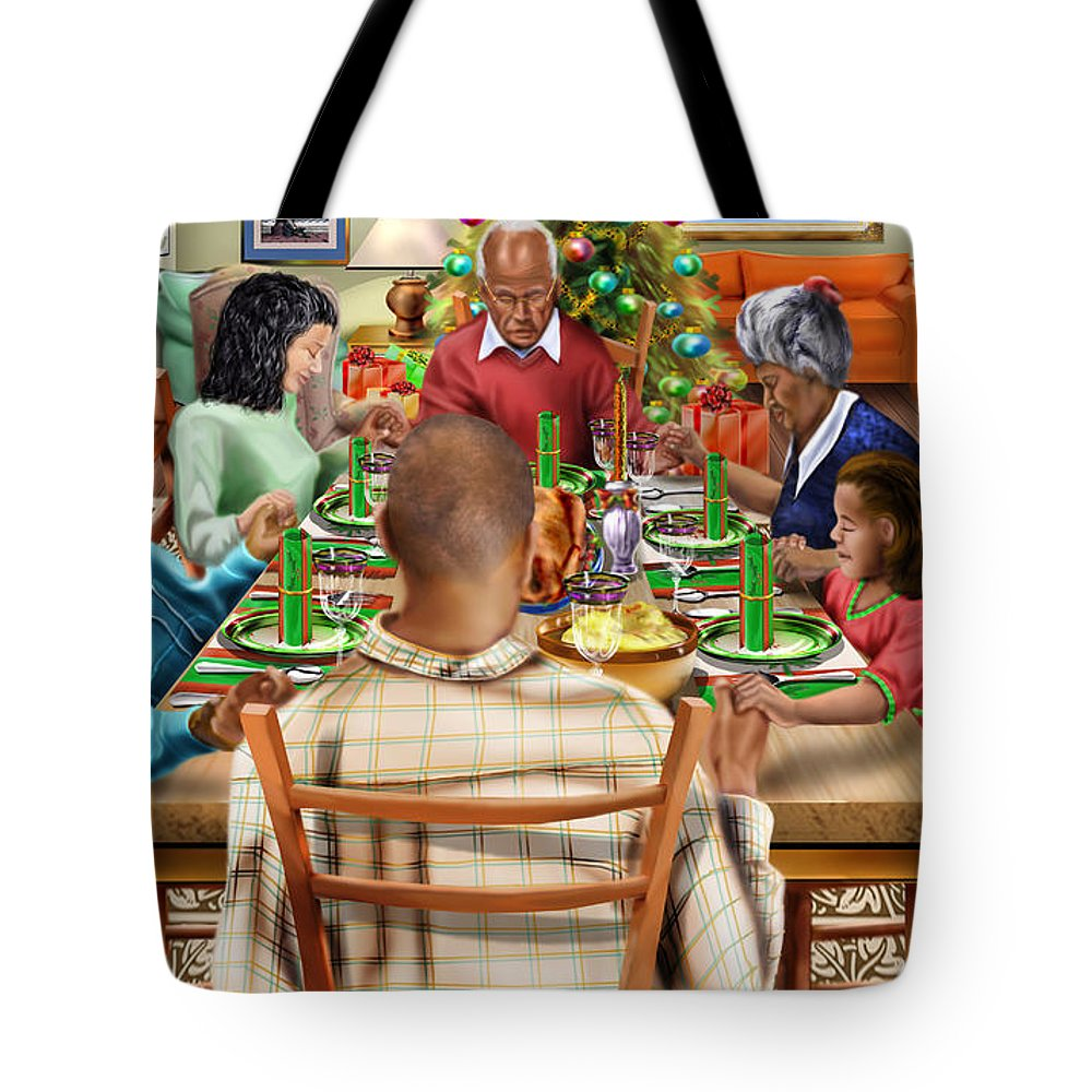 Christmas Tote Bag featuring the painting Bless Us O Lord And These Thy Gifts by Reggie Duffie