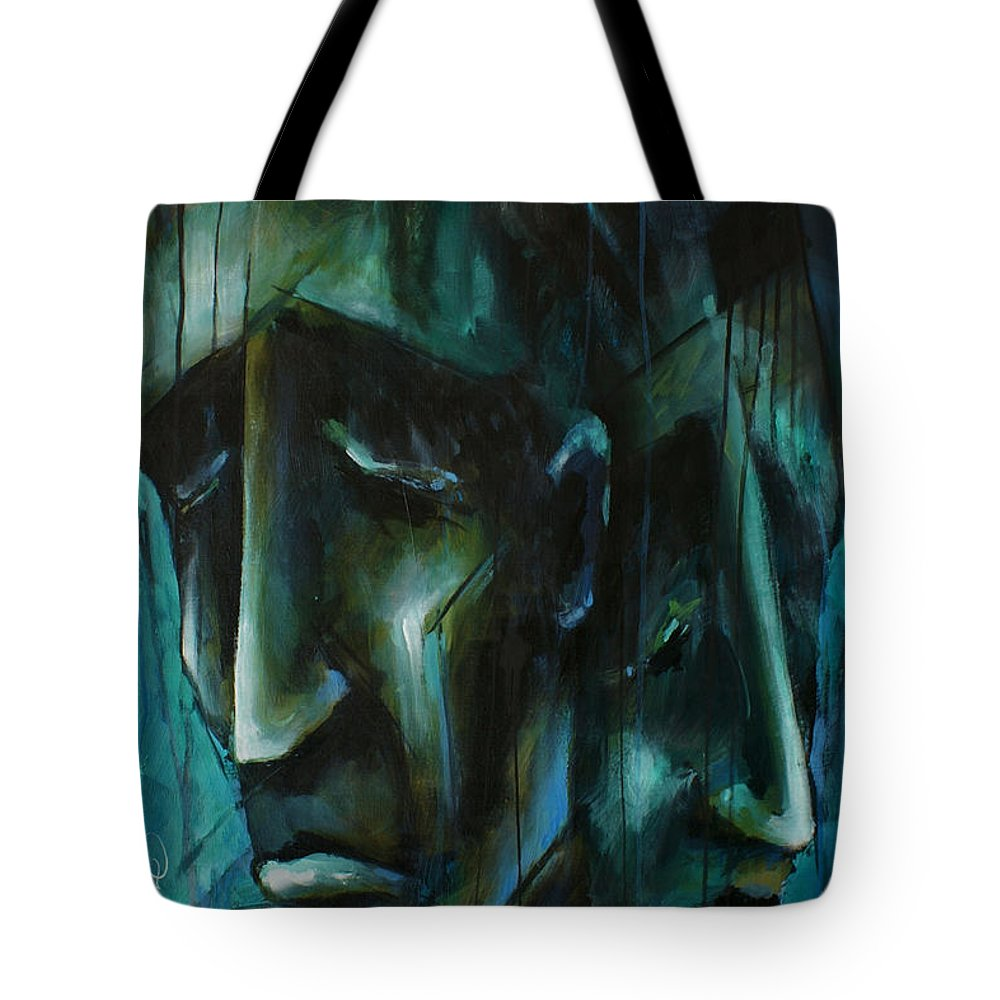 Portrait Tote Bag featuring the painting 'blue' by Michael Lang
