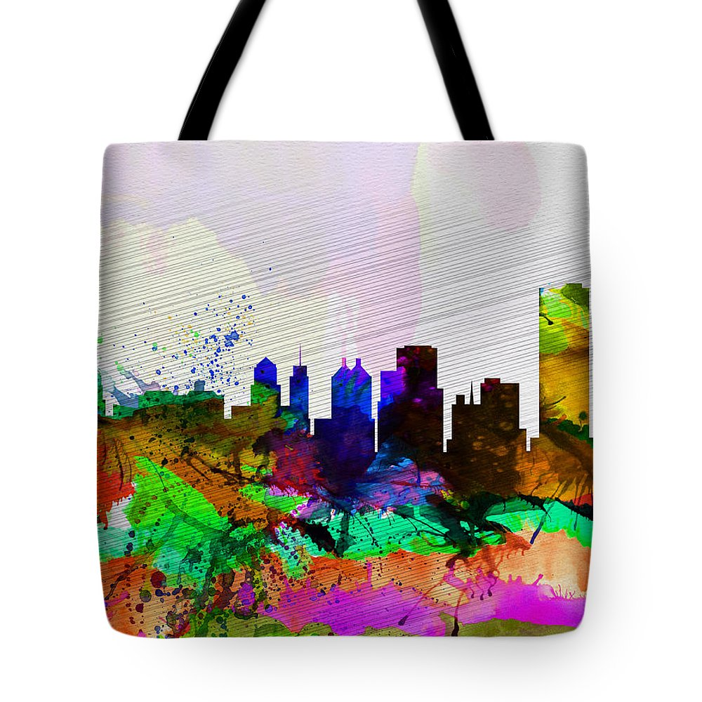 Buffalo Tote Bag featuring the painting Buffalo Watercolor Skyline by Naxart Studio