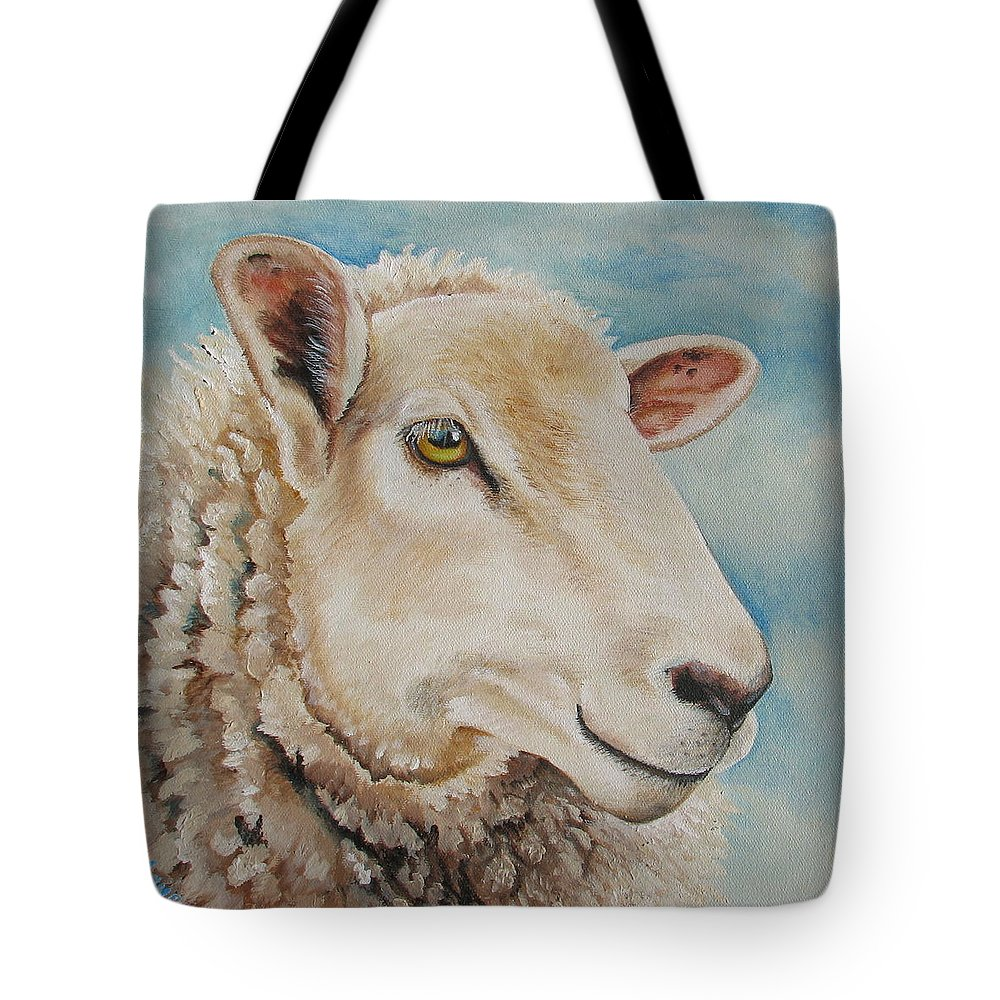Sheep Tote Bag featuring the painting Centaquil by Laura Carey
