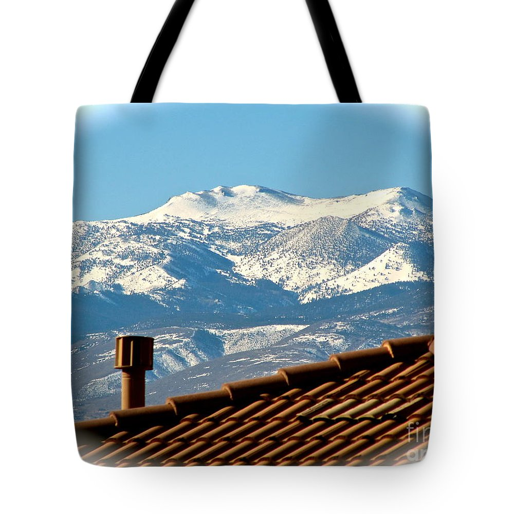 Clear Day Tote Bag featuring the photograph Cold Day New Snow Up There by Phyllis Kaltenbach