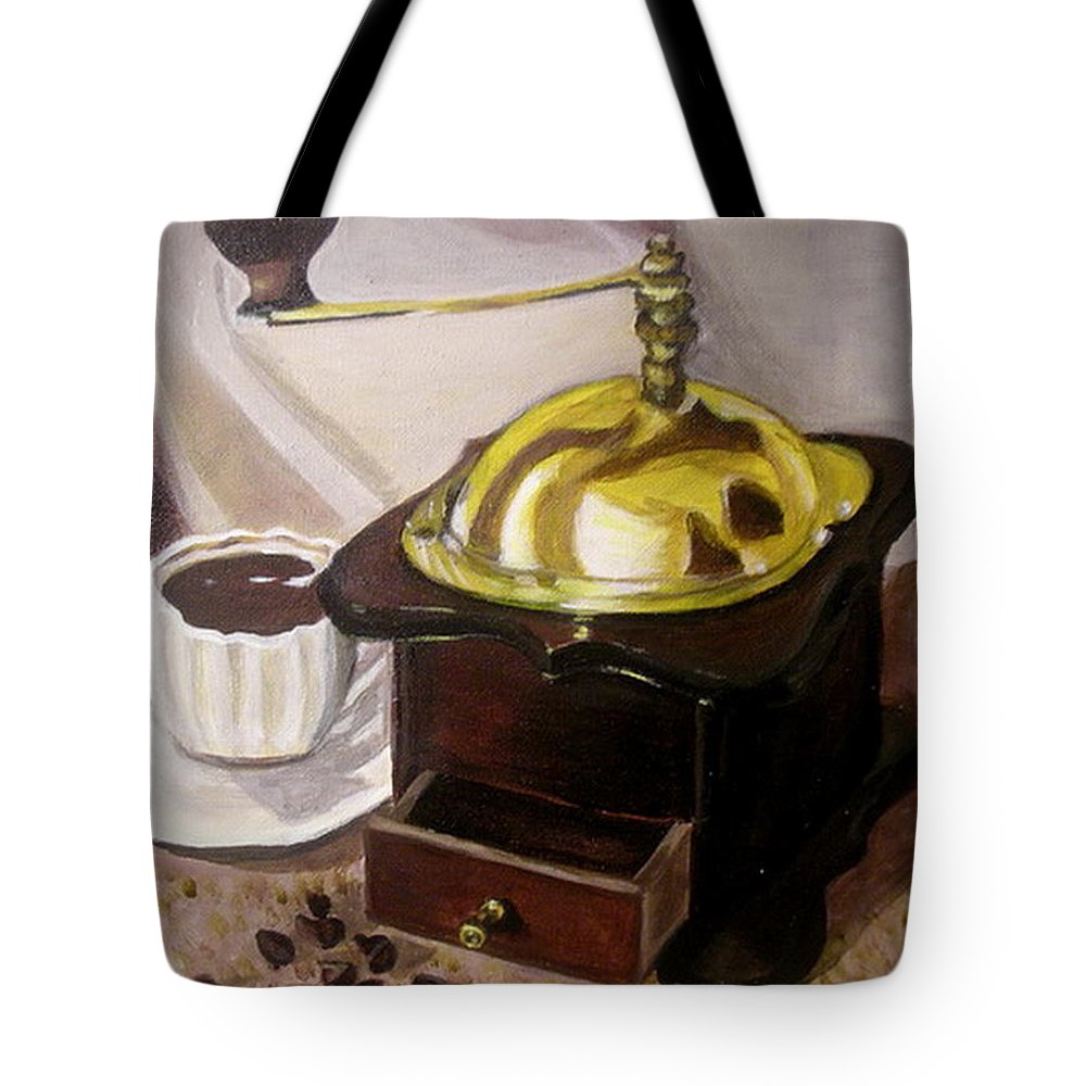 Brown Tote Bag featuring the painting Cup Of Coffee by Vera Lysenko