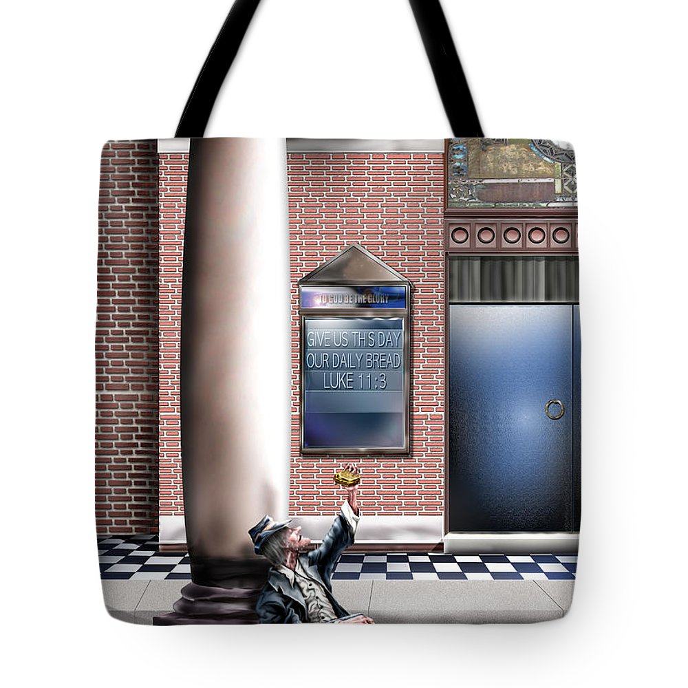 Homeless Man Tote Bag featuring the painting Daily Bread A1 by Reggie Duffie