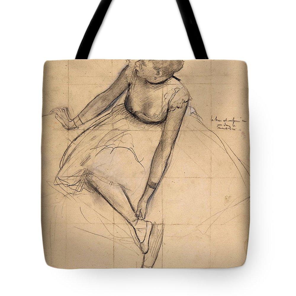 Edgar Degas Tote Bag featuring the drawing Dancer Adjusting Her Slipper by Edgar Degas