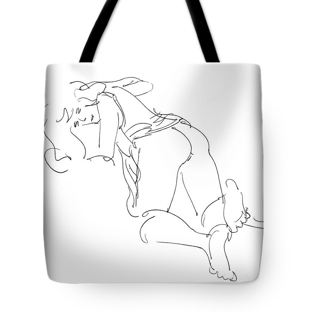 Erotic Renderings Tote Bag featuring the drawing Erotic-line-drawings-23 by Gordon Punt