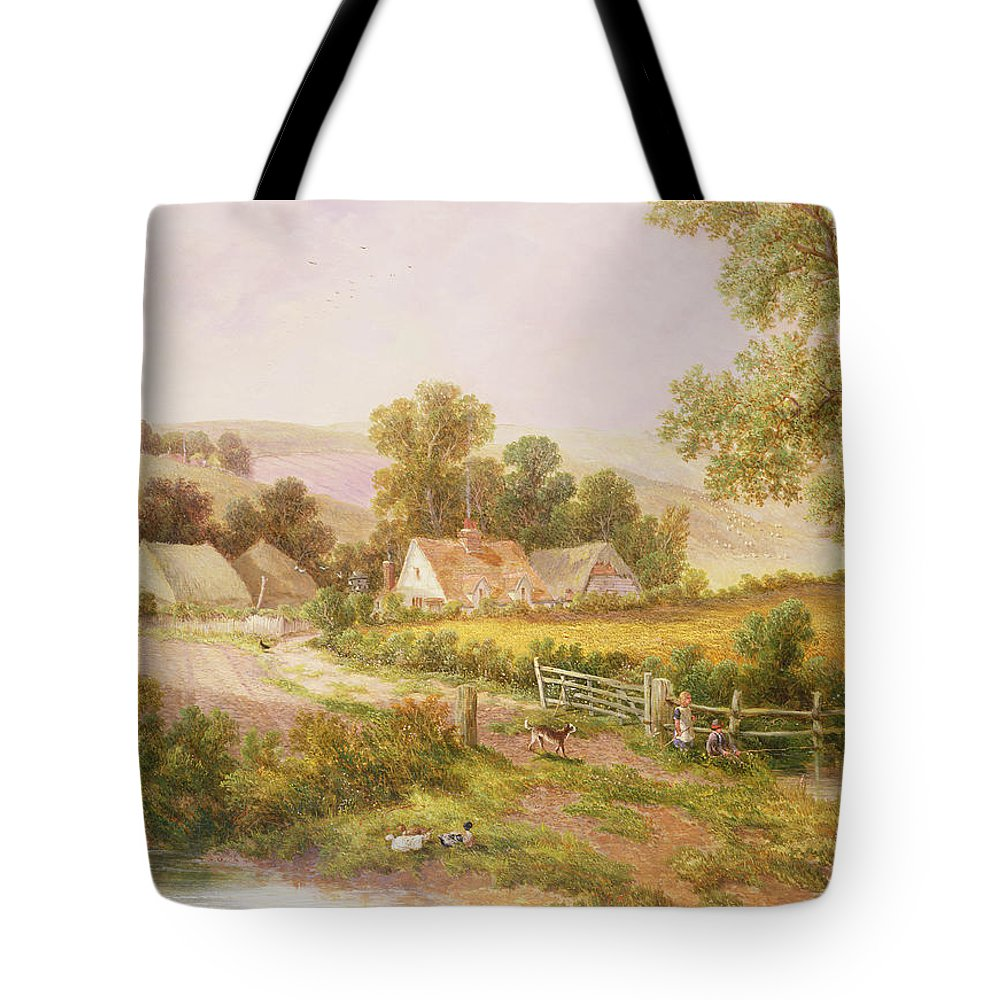 Farm; Cottage; Farmhouse; House; Children; Fishing; Victorian Tote Bag featuring the painting Farmyard Scene by C L Boes