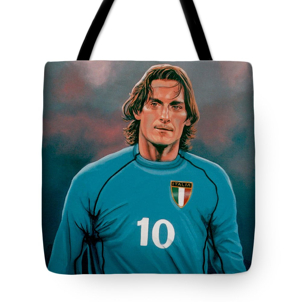 Francesco Totti Tote Bag featuring the painting Francesco Totti 2 by Paul Meijering