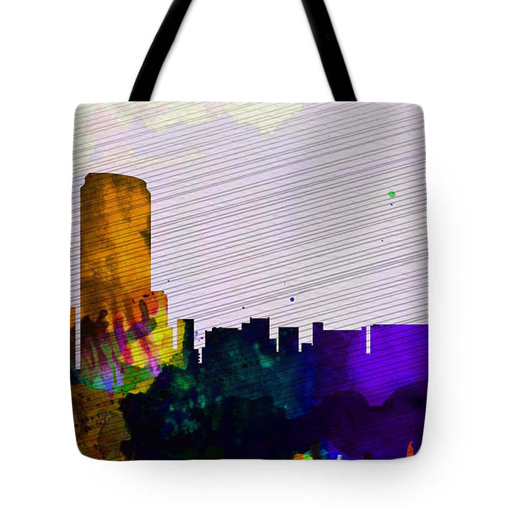 Tote Bag featuring the painting Grand Rapids City Skyline by Naxart Studio