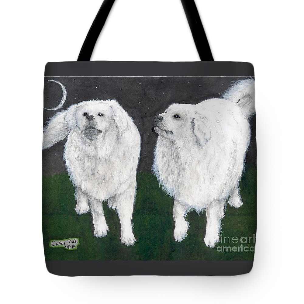 Great Tote Bag featuring the painting Great Pyrenees Dogs Night Sky Cathy Peek Animal Art by Cathy Peek