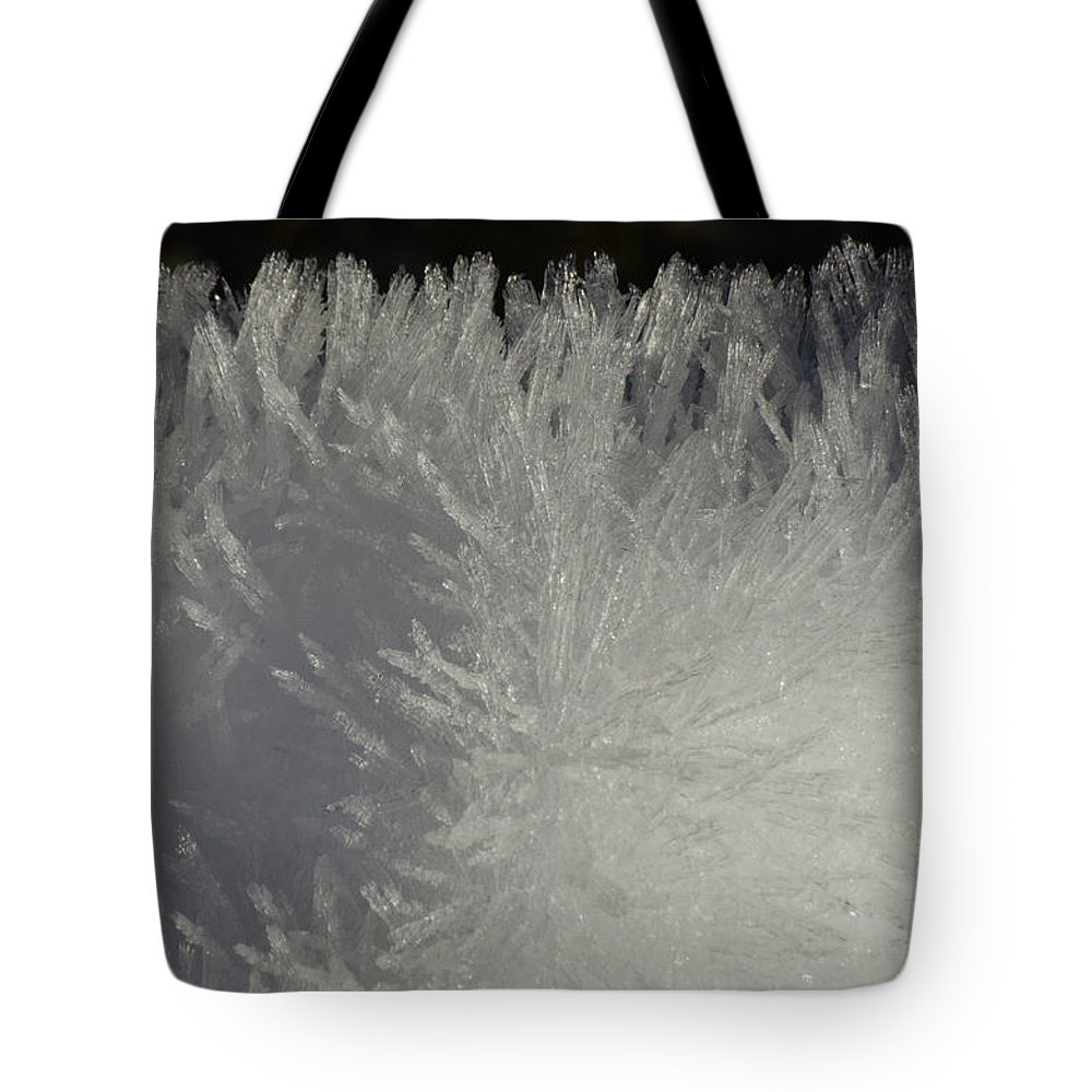 Snow Tote Bag featuring the photograph Ice Crystal Formations by Tikvah's Hope