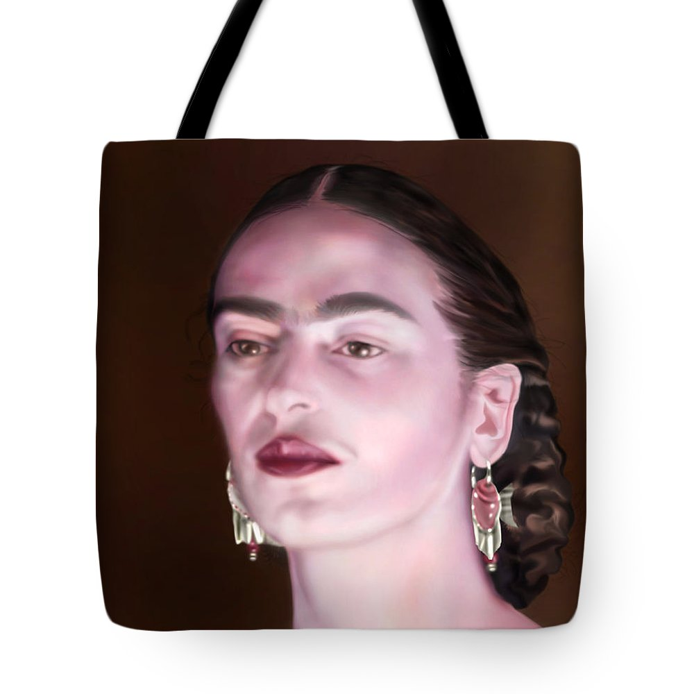 Frida Tote Bag featuring the painting In The Eyes Of Beauty - Frida by Reggie Duffie