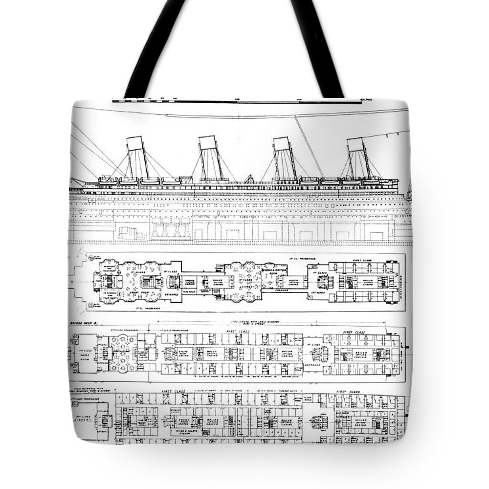 Longitudinal Section And Plan; Bulkhead; Exit; Diagram; Ocean Liner; Boat; Luxury; Tragic Tote Bag featuring the drawing Inquiry Into The Loss Of The Titanic Cross Sections Of The Ship by English School