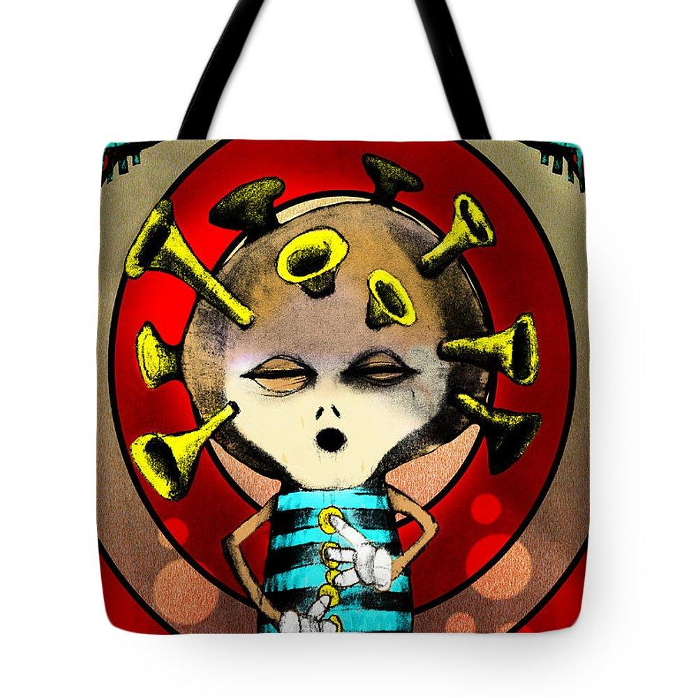 Cartoon Tote Bag featuring the painting Jazzplayer by Johan Lilja