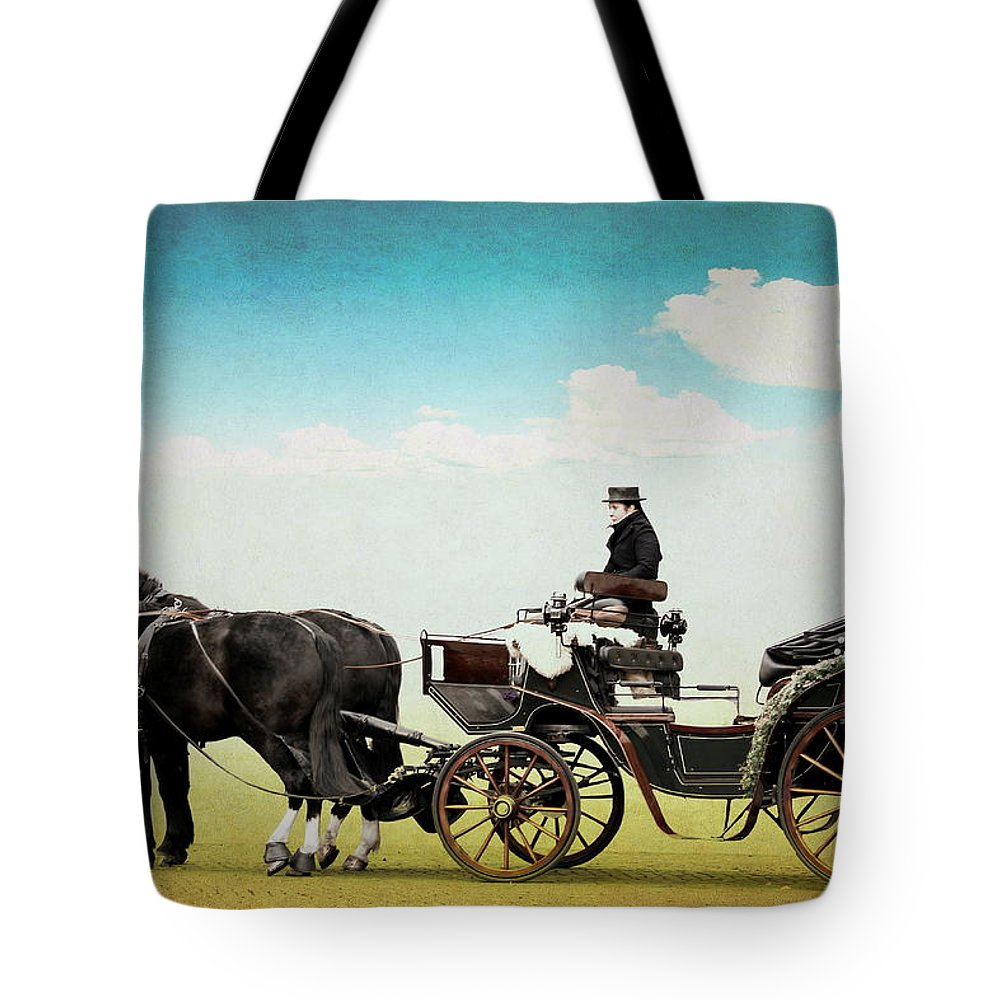Horse Tote Bag featuring the mixed media Journey Into The Past by Heike Hultsch