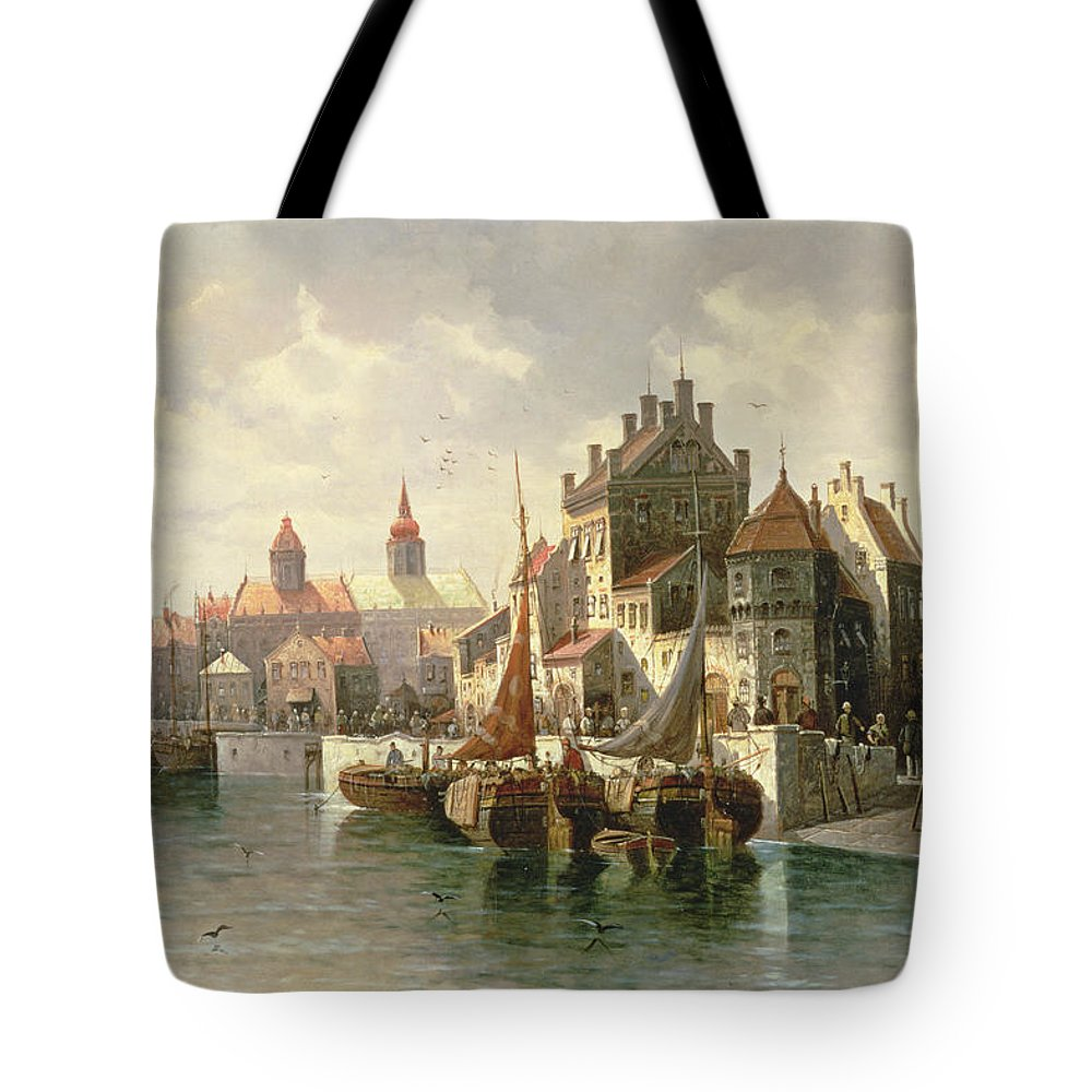 Barges Tote Bag featuring the painting Kieler Canal by August Siegen