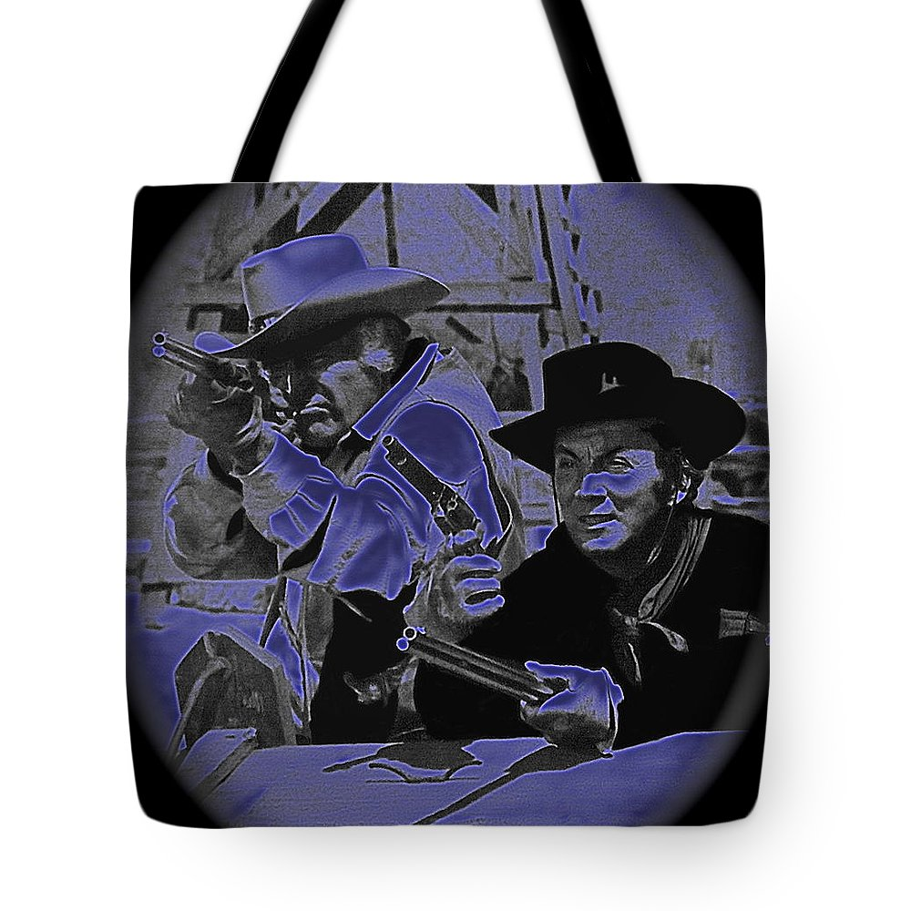 Leif Erickson And Cameron Mitchell The High Chaparral Old Tucson Arizona Howard Hawks Frances Farmer John Ford John Wayne Robert Montgomery Fighting Attacking Apaches Tote Bag featuring the photograph Leif Erickson And Cameron Mitchell The High Chaparral Old Tucson Arizona 1969 by David Lee Guss