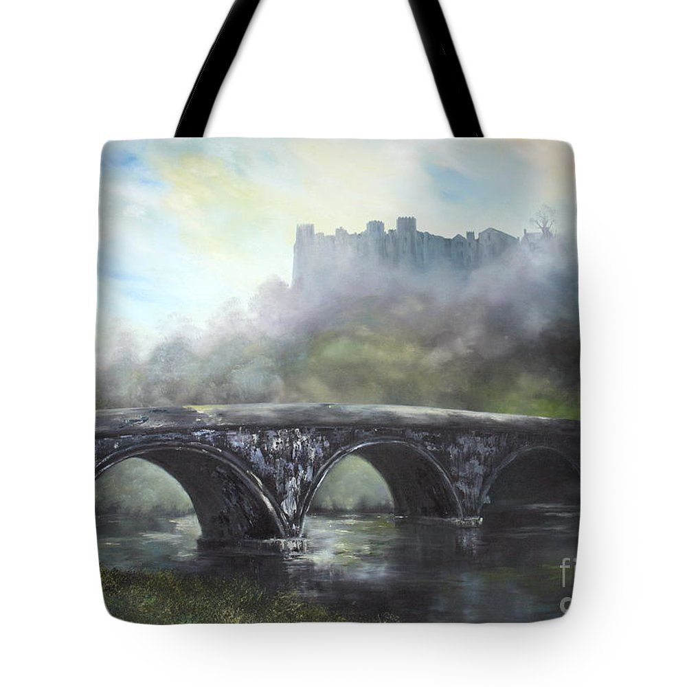Ludlow Castle Tote Bag featuring the painting Ludlow Castle In A Mist by Jean Walker