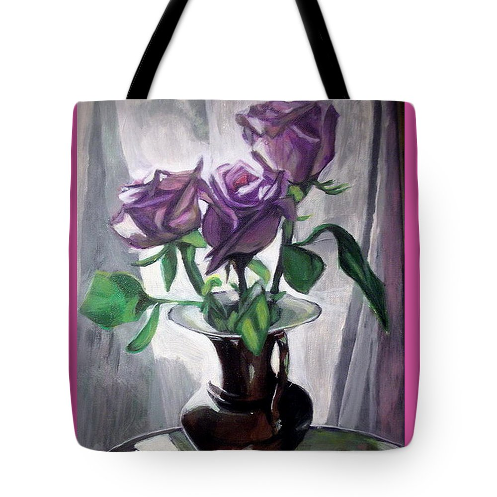 Rose Tote Bag featuring the painting Morning Roses by Vera Lysenko
