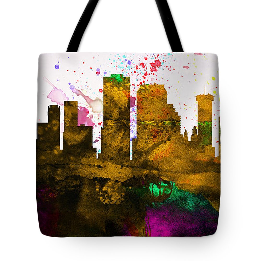 Tote Bag featuring the painting New Orleans City Skyline by Naxart Studio