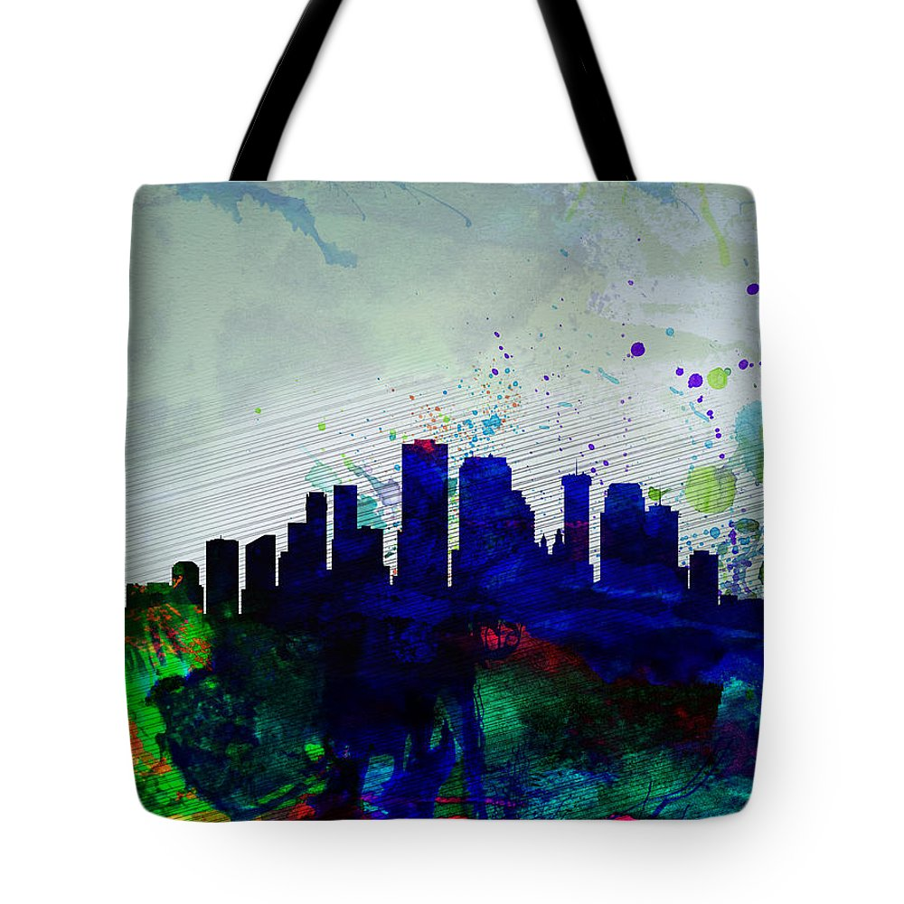 New Orleans Tote Bag featuring the painting New Orleans Watercolor Skyline by Naxart Studio