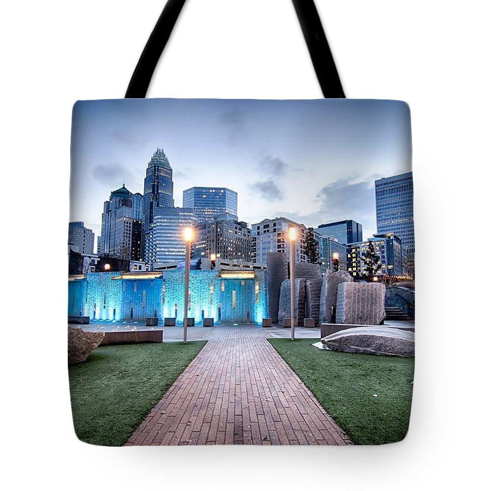 Carolina Tote Bag featuring the photograph New Romare-bearden Park In Uptown Charlotte North Carolina Earl by Alex Grichenko