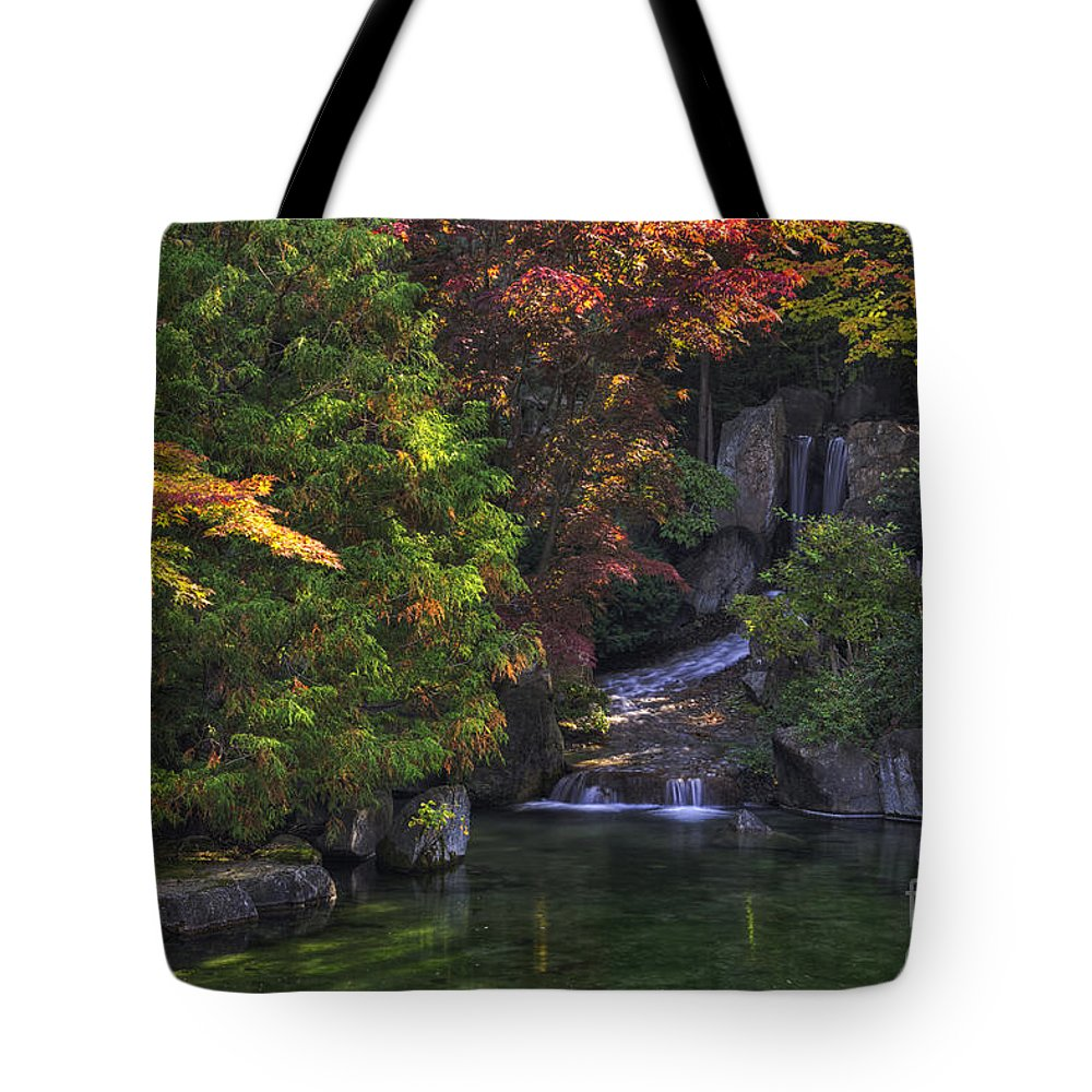 Autumn Tote Bag featuring the photograph Nishinomiya Japanese Garden - Waterfall by Mark Kiver